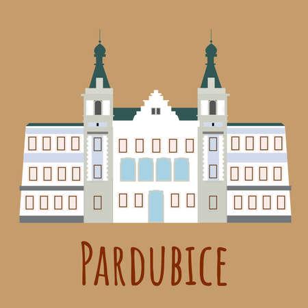 Cartoon flat town hall in Pardubice. Symbol of Czech. Vector flat illustration isolated on white background Vektoros illusztráció