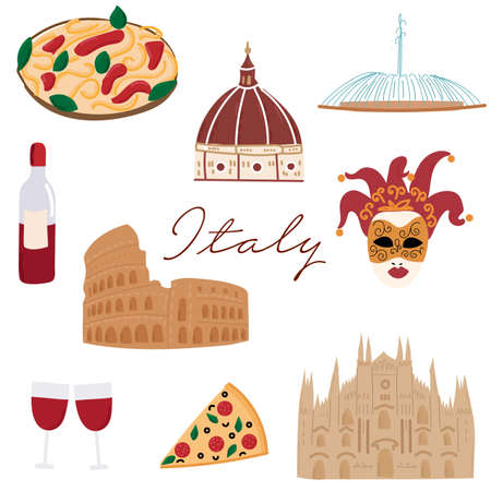 Italy hand drawn cartoon icons. flat travel architecture. Fountains, cathedrals, food. Italian symbols outline drawing vector clipart