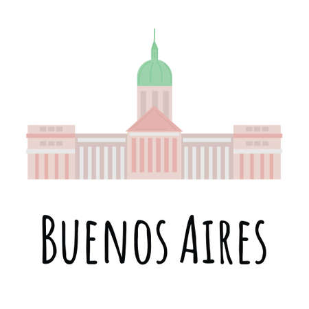 Hand drawn flat The Palace of the Argentine National Congress (Palacio del Congreso) is a seat of the Argentine National Congress in Buenos Aires, Argentina.