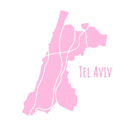 Tel Aviv map silhouette administrative division, vector map isolated on white background. boundary map with streets. High detailed illustration