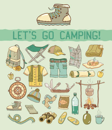 Camping. Tourism. Vector Camping.