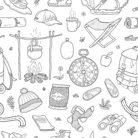 Set of travel and camping icons