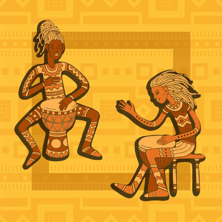 African drummers. Percussion players. Tribal music vector illustration.
