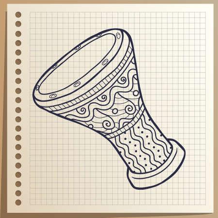 Musical instrument. Drum. Percussion. Ilustração Vetorial