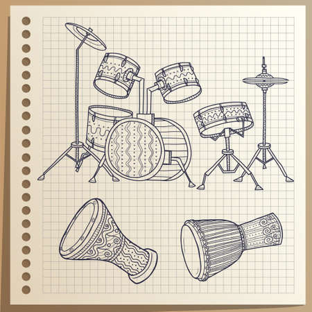 Musical Instruments. Drums set. Percussion.