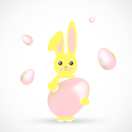 Easter yellow bunny with egg cartoon cute illustration Illustration
