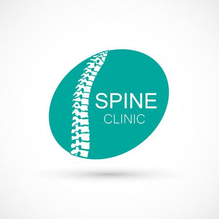 Spine elipse logo clinic medicine chiropractic backbone health illustration
