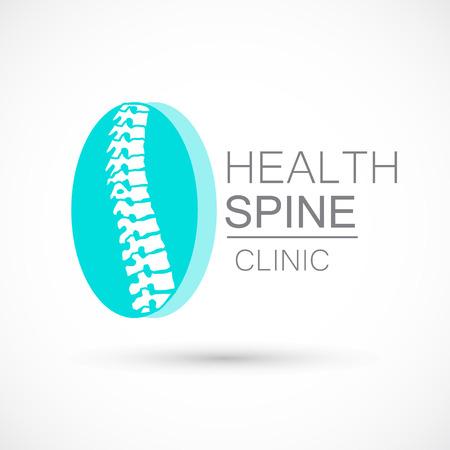 Spine blue logo clinic medicine chiropractic backbone health illustration