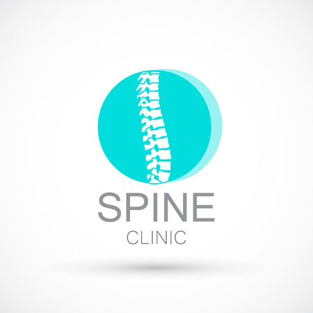 Spine blue round logo clinic medicine chiropractic backbone health illustration Illustration