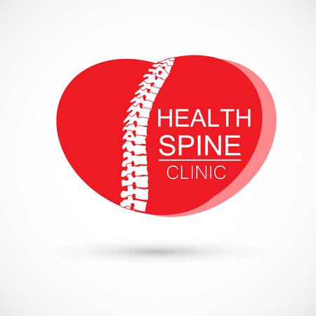 Spine heart red logo clinic medicine chiropractic backbone health illustration