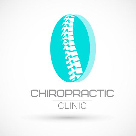 Spine logo clinic blue elipse medicine chiropractic backbone health illustration