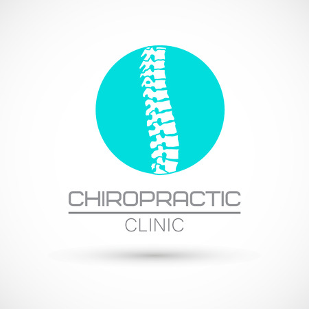 Spine round logo clinic medicine chiropractic backbone health illustration