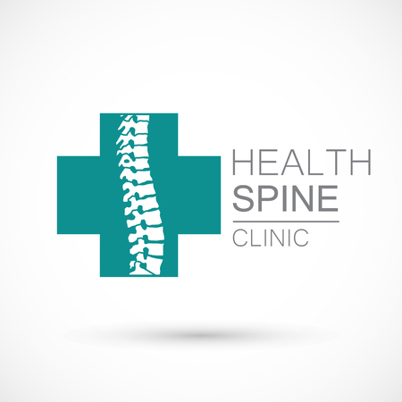 Wervelkolom cross logo kliniek geneeskunde chiropractie ruggengraat gezondheid illustratie