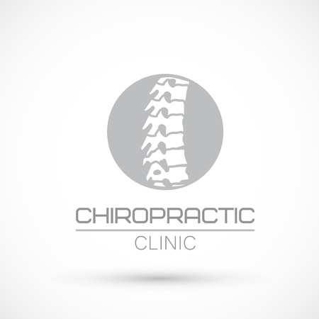 Spine gray round logo clinic medicine chiropractic backbone health illustration