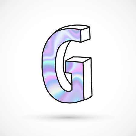Modern alphabet set, letter G symbol, holographic gradient neon. 3d hand drawn line perspective trend illustration.