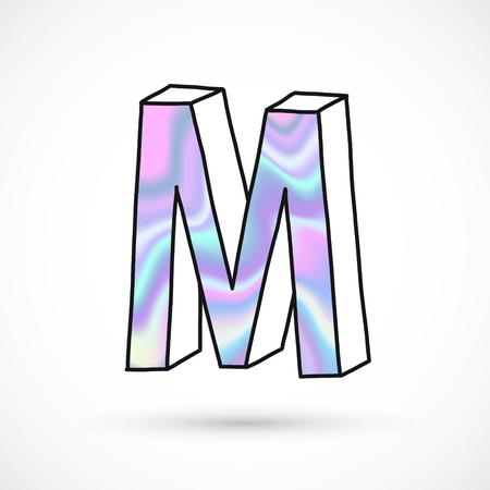 Modern alphabet set, letter M symbol, holographic gradient neon. 3d hand drawn line perspective trend illustration. Illustration