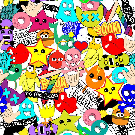Colorful wallpaper of different things with facial expression and sticker bomb typography in cartoon illustration. Vettoriali