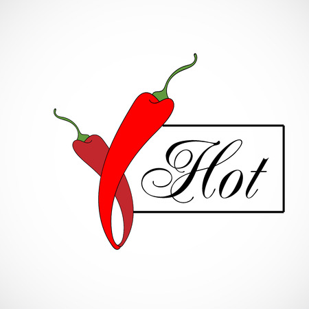 Red bright pepper chili vector illustration, hot typography isolated on background.