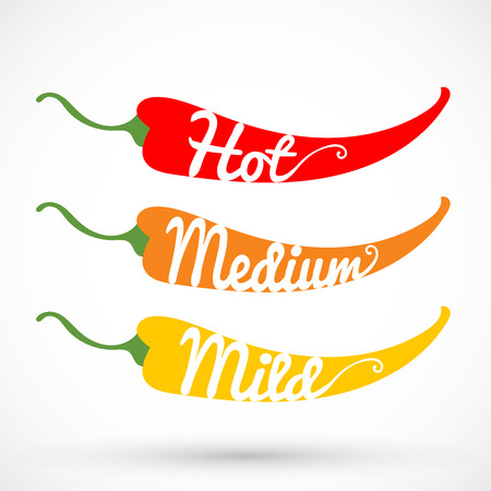 Rating three pepper chilli vector illustration isolated on background Illustration