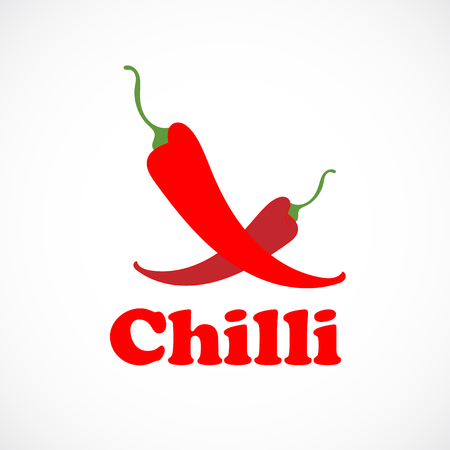 Red chili pepper icon vector illustration isolated on white background.