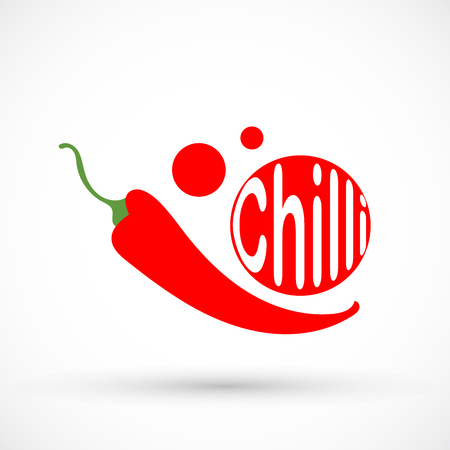 Red round pepper chilli typography and graphic design illustration isolated on background.