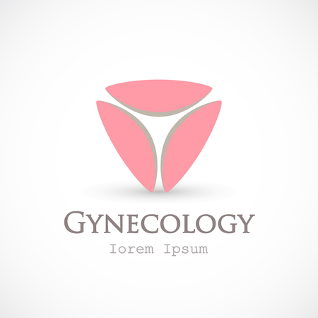 Gynecology template, half circle in triangular shaped vector isolated on background.