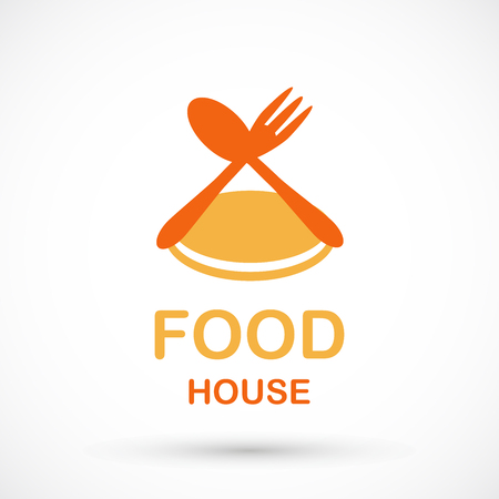 Food house typography with spoon,  fork and plate graphic design isolated on background. Illustration