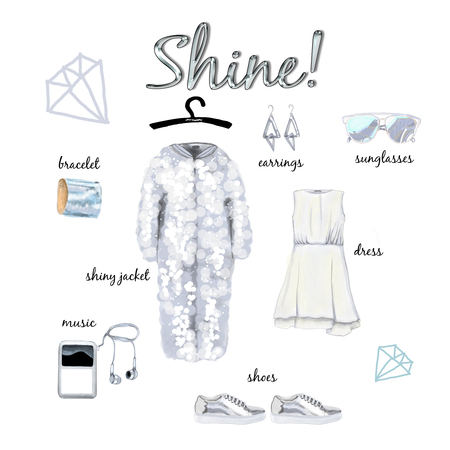Glow fashion outfit image shine jacket and accessories
