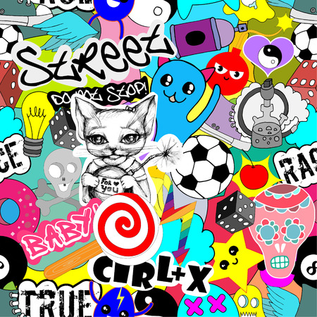 Seamless vector pattern bright colorful stickers characters background, funny graffiti, street art style