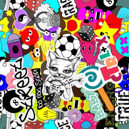 Seamless pattern bright vector stickers characters background, funny graffiti, street art style