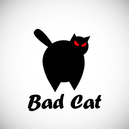 Black big bad cat concept, with red eyes, in silhouette illustration.