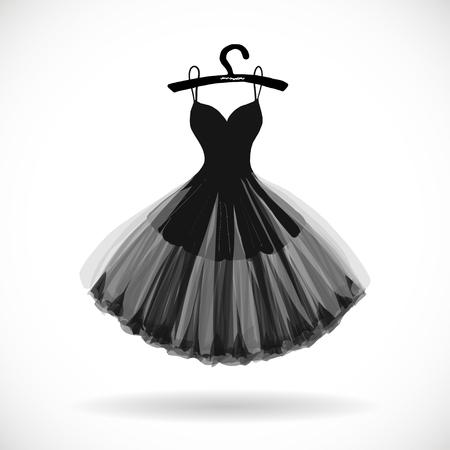 リトルブラックドレス手描きベクトルイラスト。