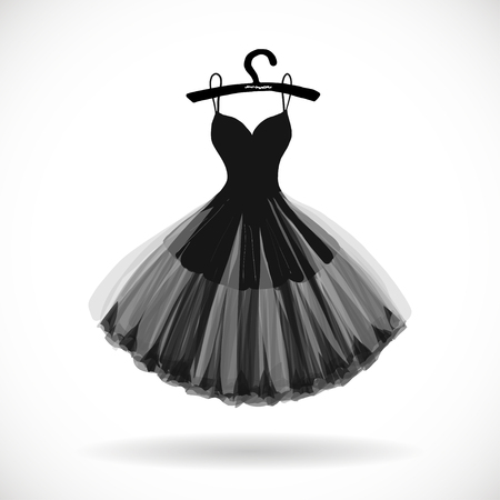 Little black dress hand drawn vector illustration.
