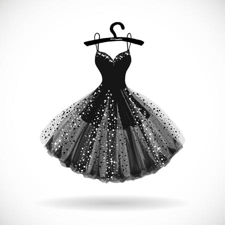 Błyszcząca mała czarna sukienka ręcznie rysowane ilustracji wektorowych. Ilustracje wektorowe