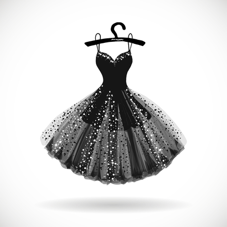 Shiny Little black dress hand drawn vector illustration.