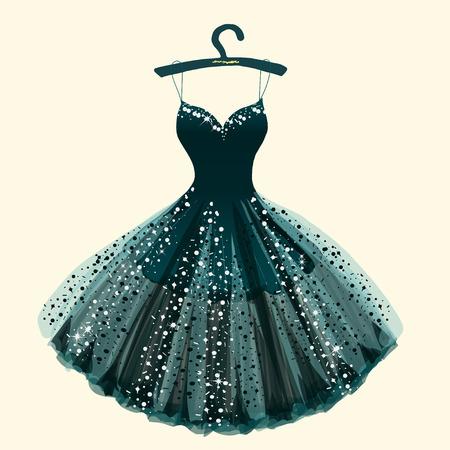 Beautiful dress hand drawn vector illustration. Vettoriali