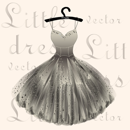 Beige shiny dress hand drawn vector illustration