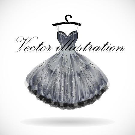 Beautiful silver dress hand drawn vector illustration. Illustration