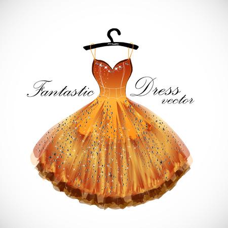 Orange fantastic dress hand drawn vector illustration