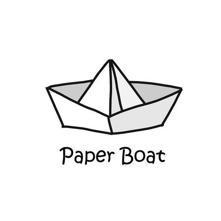 Paper boat cartoon concept style logotype vector illustration Illustration