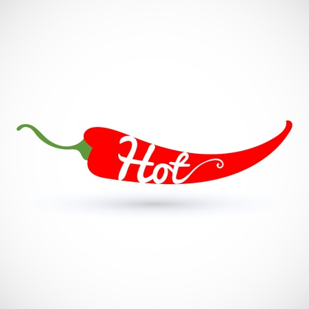 Pepper chili vector illustration, with hot inscripton isolated on white background.