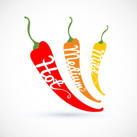 Rating three pepper chili, hot, medium, mild, vector illustration isolated on background.