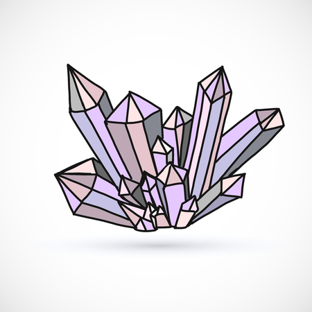 Crystal hand drawn vector illustration isolated on white background.