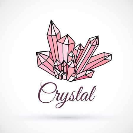 Pink Crystal hand drawn vector illustration isolated on white background Illustration