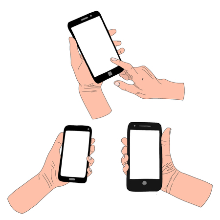 Set hand drawn illustration of mobile phone in hand.