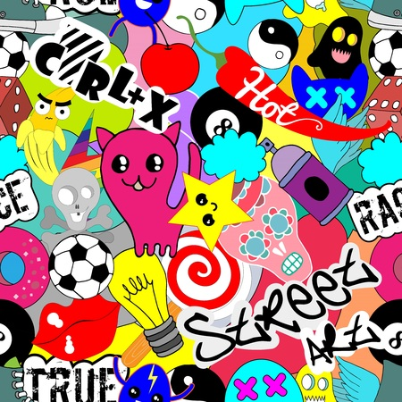 Funny vector seamless pattern bright colorful wallpaper with different characters background, graffiti street.