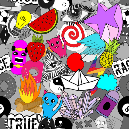 Seamless pattern of bright colorful random elements vector background.