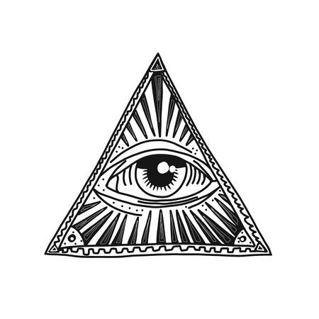 Hand drawn pyramid and eye vector illustration.