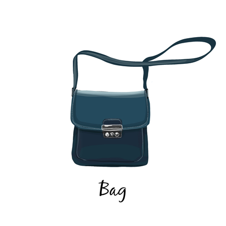 Bag dark blue, hand drawn illustration fashion style, vector isolated on white background. Vectores
