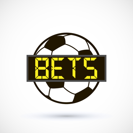Sport betting ball soccer with electronic score board vector illustration isolated on white background. Illustration